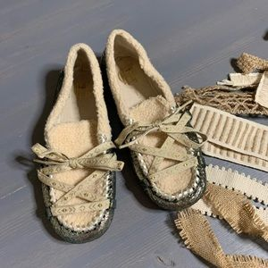House of Harlow Metallic Lace Moccasins